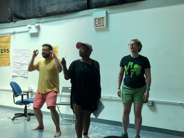 Joe Schupbach, Jasmine Jordan, and Rachel Wilson rehearsing for The Girl with No Memory by Amiya S from Johnson School of Excellence.