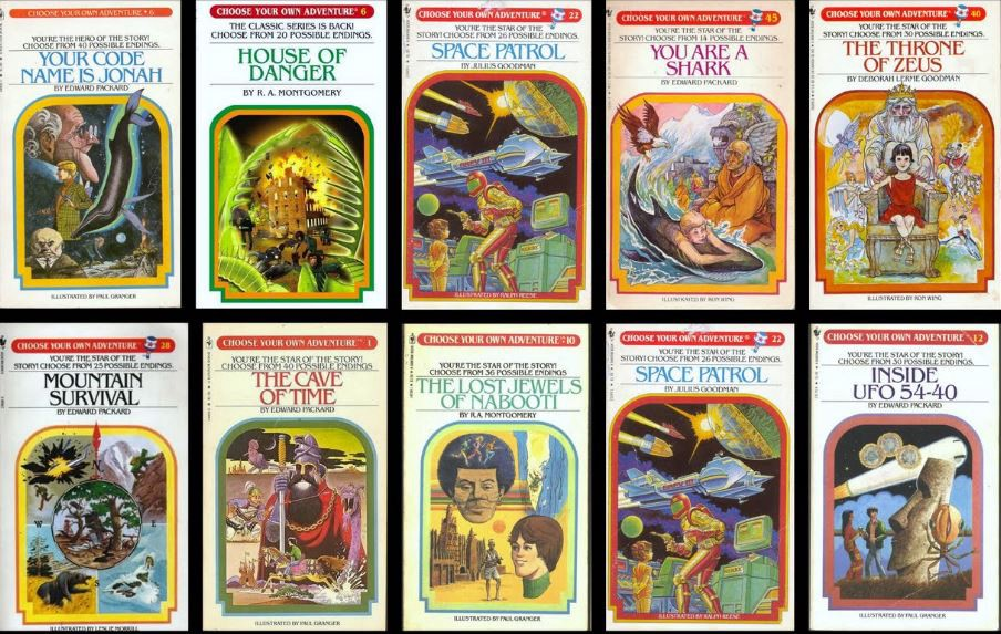 a collage of old-timey choose your own adventure novel covers