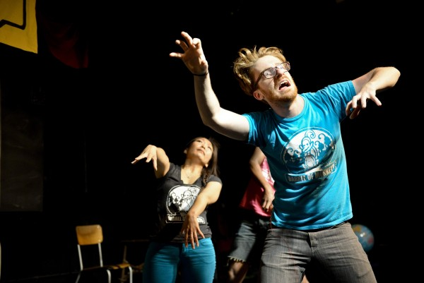 Rawson Vint and Deana Meyers miming zombies during a performance of