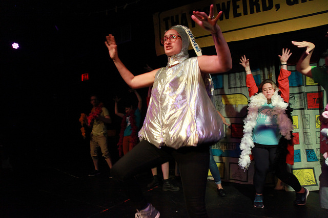 Zoe Schwartz in a Hershey Kisses costume during a performance of That's Weird, Grandma: Stories About Food