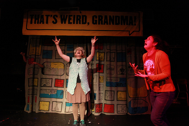 Rachel Wilson and Mary Tilden perfroming in That's Weird, Grandma at the Neo-Futurists Theater in Chicago