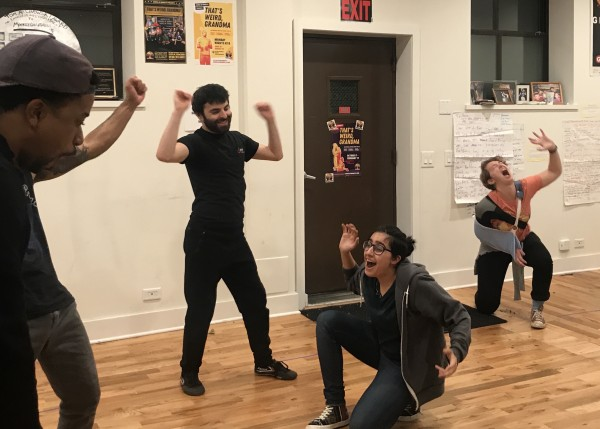 Barrel of Monkeys cast members rehearsing a victory dance for a sketch
